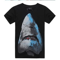 2013 new arrival!men's t shirts fashion 3d shark print brand casual cool summer Hip HOP t shirt, spring free shipping