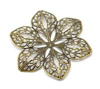 Free shipping-30Pcs Antique Bronze Filigree Flower Wraps Connectors Jewelry Findings Connectors 6x5.3cm  M00616