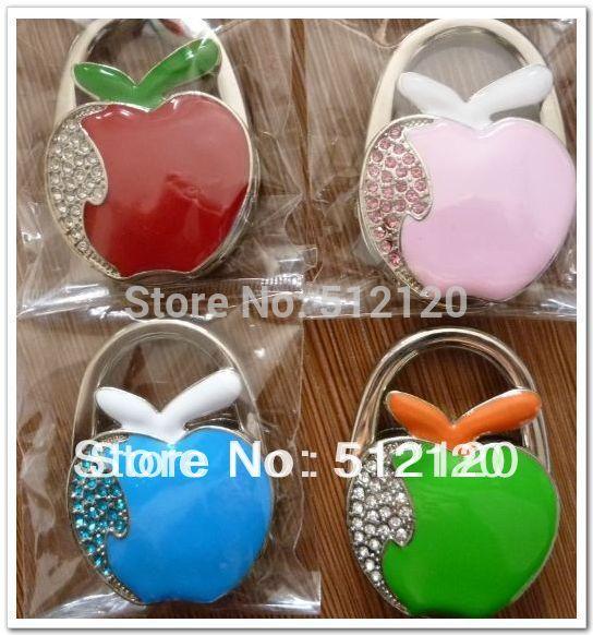 Free shipping fast ship 4pcs/lot fashion apple shape folding bag hooks/bag hanger/purse hangers 24pcs/lot 4 colors as optional(China (Mainland))