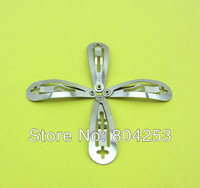 wholesale free shipping 100 pcs/Lot silver The front arc with cross hole Snap Clip 30mm DIY Craft Girl Hair Bow F24