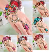 Wholesale Indian Cuff Bangle Rings 6PCS Peacock Tail Resin Bracelets Bronze Plated Women Jewelry Free Shipping