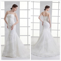 Free Shipping Sexy Tulle Applique Strapless Train Mermaid Wedding Dress 2014 New Arrival CH2325