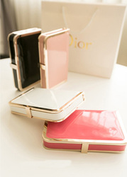 2013 candy color japanned leather clutch fashion quality metal square shoulder bag evening bag(China (Mainland))
