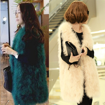 13 Colors Free Shipping Autumn & Winter Women Genuine Ostrich Fur Vest Warm Cotton Fur Rabbit Fur Fox Fur Vest Vests Gilet coat