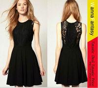 Free Shipping Women Fashion Sexy Lace Open Back Dress Slim Clubwear Sleeveless