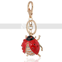Wholesale 18kGold Plated Zinc Alloy Large Size Ladybird Keychains Bag Hangings Crystal Gift for Children Free Shipping