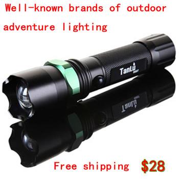 Probe exposed genuine long-range LED Flashlight Q5 flashlight Support phone charger with life-saving hammer free shipping