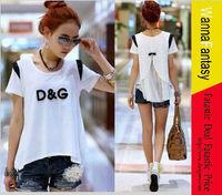 Free shipp ,Hot selling , bow marni patchwork chiffon short-sleeve T-shirt