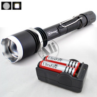Free Shipping ZOOMABLE CREE MXL MX-L T6 LED 1600 Lumen 5-Mode Flashlight Torch For 2x18650 Charger SET NEW