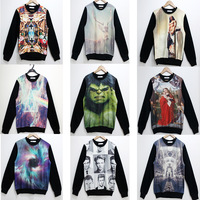 2013 Fashion women/men Skull space Funny Galaxy sweatshirts print panda/deer Triangle 3d sweaters hoodies S/M/L/XL