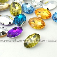 Acrylic Rhinestone Cabochons,  Faceted Oval,  Mixed Color,  14x10x5mm