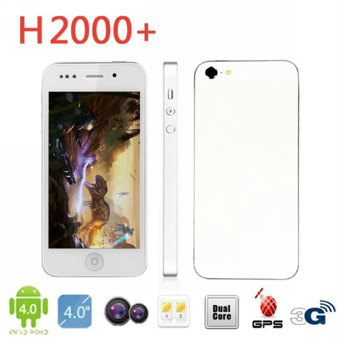 Free Shipping H2000+ MTK6577 Dual core 4'' 3G Android Smart Phone Dual Sim Card slot Wifi GPS Bluetooth Web Camera(China (Mainland))