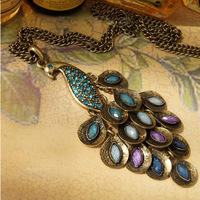 Min.order is $10 (mix order)Hot selling vintage gorgeous peacock pendant necklace! Free Shipping! XL2100