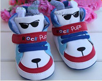 Cool Korean Style Unique Cartoon Design Kids Boy Shoes Cute Dog Pattern Children's Footwear Lace-up And Velcro First Walker