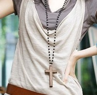 Promotion Fashion Wood Cross Necklace Long black beads Sweater Chain Necklace Wooden Made Cross Pendant