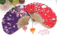 Heart charm japanese style silk cloth folding fan japanese style fan endulge folding fan cloth fan