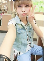 Free shipping Octopussy retro 2013 finishing hole light blue fashionable denim vest