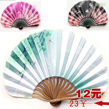 3 pattern silk japanese style folding fan female shell fan
