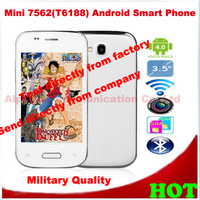 3.5inch Mini 7562(T6188) Android Smart Phone GSM WIFI Dual SIM Card 2MP Camera CPU1GHZ Play Store HK/Singapore Post FreeShipping
