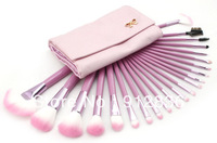 New Professional 22pc Makeup Brush Set with Pink Pouch 2# Free Shipping