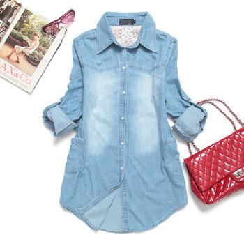 free shipping 2013 light color thin denim shirt women's long-sleeve shirt with plus size retail