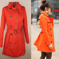 Factory sale low price 4 colors 4 size Fashion double breasted trench female outerwear medium-long autumn women's  coat J1