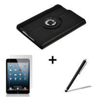 10set free shipping 360 degree Rotating leather case for ipad mini smart stand cover + Screen protector film + stylus pen