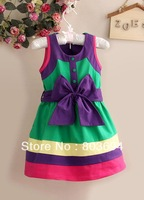 2013 New Christmas Girls Dress Beautiful Green Bow Girl Dresses For Kids Clothings 6PCS/LOT GD26I