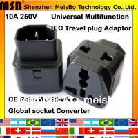 Universal portable 10A 250V CE ABS black power pin plug converter for worldwide travel adaptor 500pcs free shipping by FEDEX
