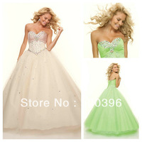 Sparkle Crystal Pleated Sweetheart Lime Green Champagne Cheap Ball Gown Quinceanera Dress 2014 Sexy Prom Gown Free Shipping