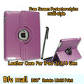 Purple Color Litchi Print Leather Case For The New iPad 4 Smart Cover 3 2 Gen 360 Degree Rotating/Smart Cover