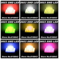 9Valuesx1000pcs=9000pcs New 0603 Ultra Bright SMD Red/Green/Blue/White/Yellow /Warm White/Orange/Pink/Purple LED kit