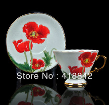 1Cup 1Saucer Aesthete Bone China Scarlet Poppy Coffee Set Tea Set