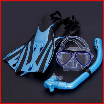 Free Shipping High Quality Environmental Protection Kids  Diving Equipment (3 pcs/set )Swim Fins+Swim Goggles + Snorkel