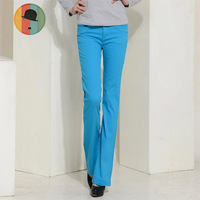Women's candy color elastic bell-bottom jeans boot cut trousers casual female trousers