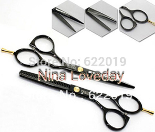 Black Steel Hair Scissors 5.5 Inch Cutting Thinning Professional Barber Salon Equipment Shears Set(China (Mainland))