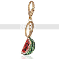 Free Shipping Gold Plated Zinc Alloy Watermelon Crystal Keychains Backpack Buckles Cool Summer Days Delicious Wholesale