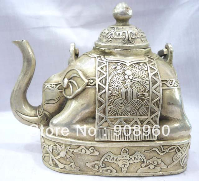 new arrive Chinese Tibet silver elephant shape figure teapot fashion jewelry(China (Mainland))