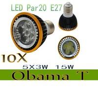 10pcs/lot New Arrival Par20 Led Lamp E27 E14 Dimmable 5X3W 15W Spotlight Led Light Led Bulbs 85V-265V Energy Saving Freeshipping