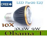 Free shipping 10X Dimmable Led Lamp E27 Par20 3X3W 9W Spotlight 85V-265V Led Light Led Bulbs with good quality
