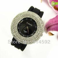 Gorgeous Lady Women Shining Round Rhinestone Crystal Dial Quartz Wristwatch Free Shipping