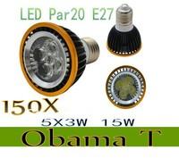 150pcs/lot New Arrival Par20 Led Lamp E27  Dimmable 5X3W 15W Spotlight Led Light Led Bulbs 85V-265V Energy Saving Freeshipping