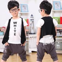 2013 summer fashion boys clothing baby child vest t short capris triangle tz-0699 set