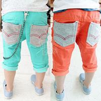 2013 summer unique pocket boys clothing girls clothing child capris 5 pants kz-1839