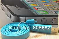 Wholesale 100pcs Noodle Flat Micro USB Sync Data & Charger Cable 1M For iphone 4 4g 3 3g Free Shipping DHL