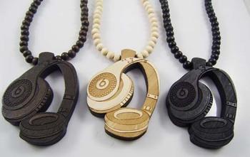 w011 _ wood necklace hip hop pendant MP3 headphones 8mm Hemu beads jewelry wholesale free shipping