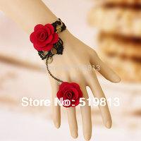 Vintage gothic vampire Harajuku black lace Gothic black lace bracelet with rose flower chain female jewelry