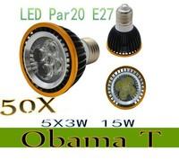 50pcs/lot New Arrival Par20 Led Lamp E27 E14 Dimmable 5X3W 15W Spotlight Led Light Led Bulbs 85V-265V Energy Saving Freeshipping
