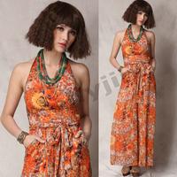 Lady's Chic Floral Chiffon Halter Waist Pants Jumpsuit Wide Leg Boho Maxi Dress 2014 Summer