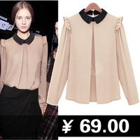 Fashion all-match 2013 peter pan collar turn-down collar beading chiffon shirt xuefang women's basic shirt